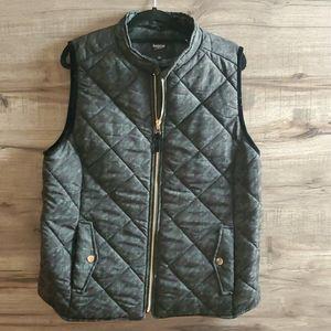 Kensie green and black houndstooth puffer vest